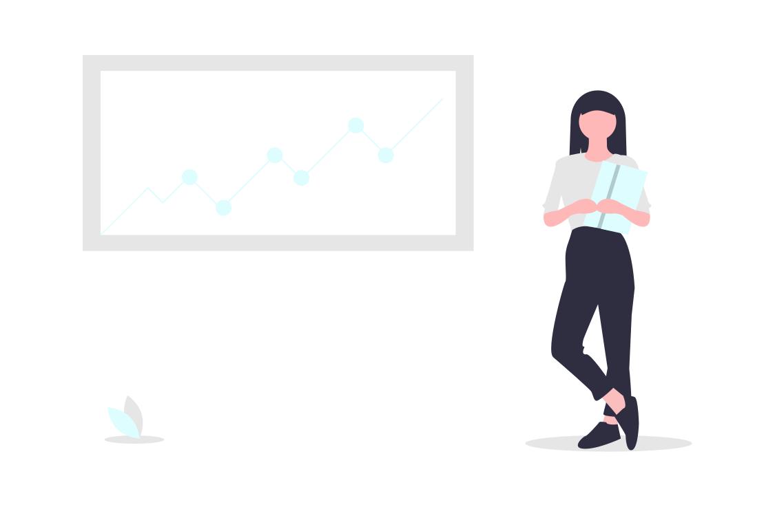 データを説明する女性