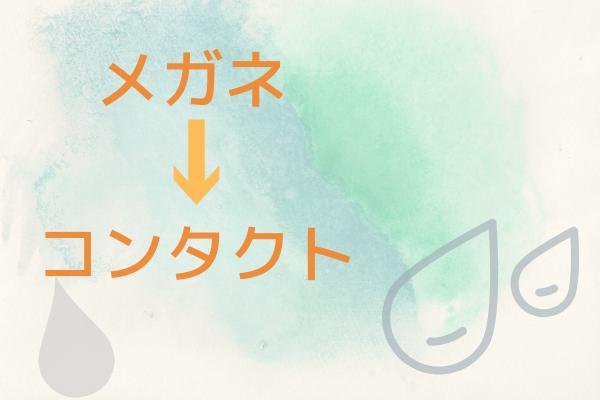 メガネ→コンタクトの文字