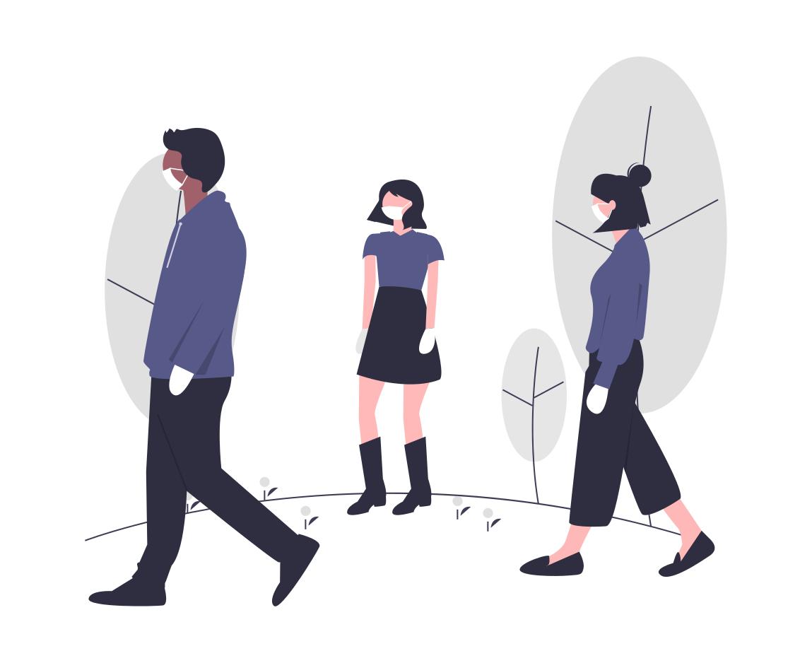 マスクをつける人々