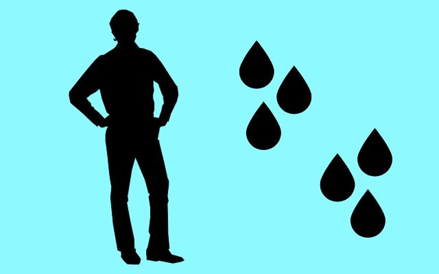 男性の水分量を表すイラスト