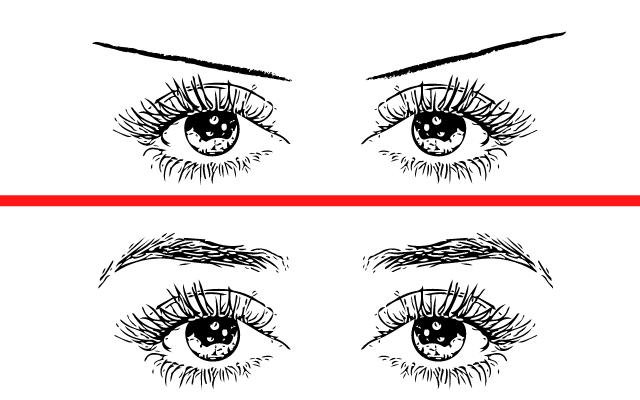眉毛による印象の違い