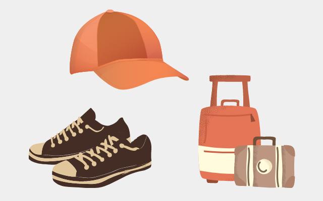 靴と帽子とカバンの画像