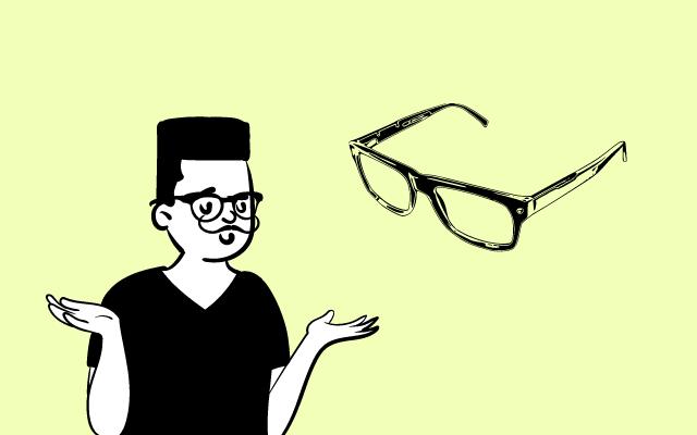 メガネについて考える男