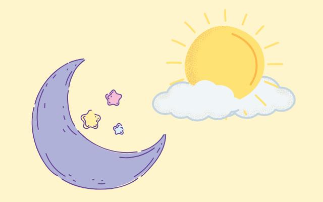 太陽と月のイラスト